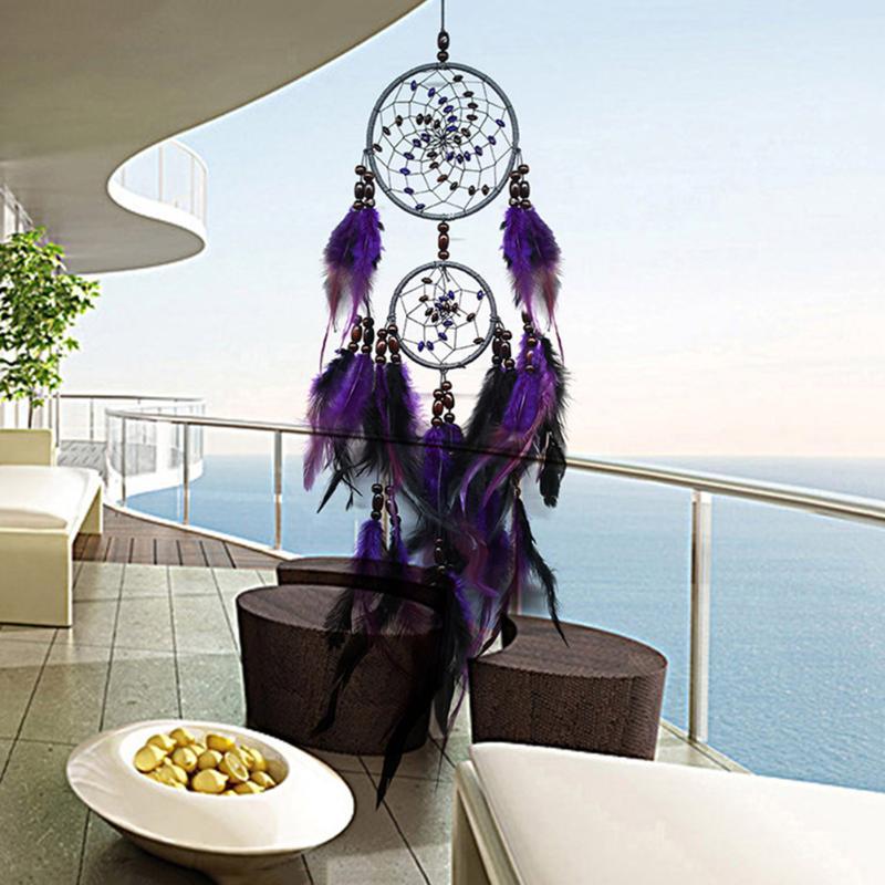 Púrpura cazador de sueños de plumas colgante de pared decoración de coche hogar ornamento decoración del hogar