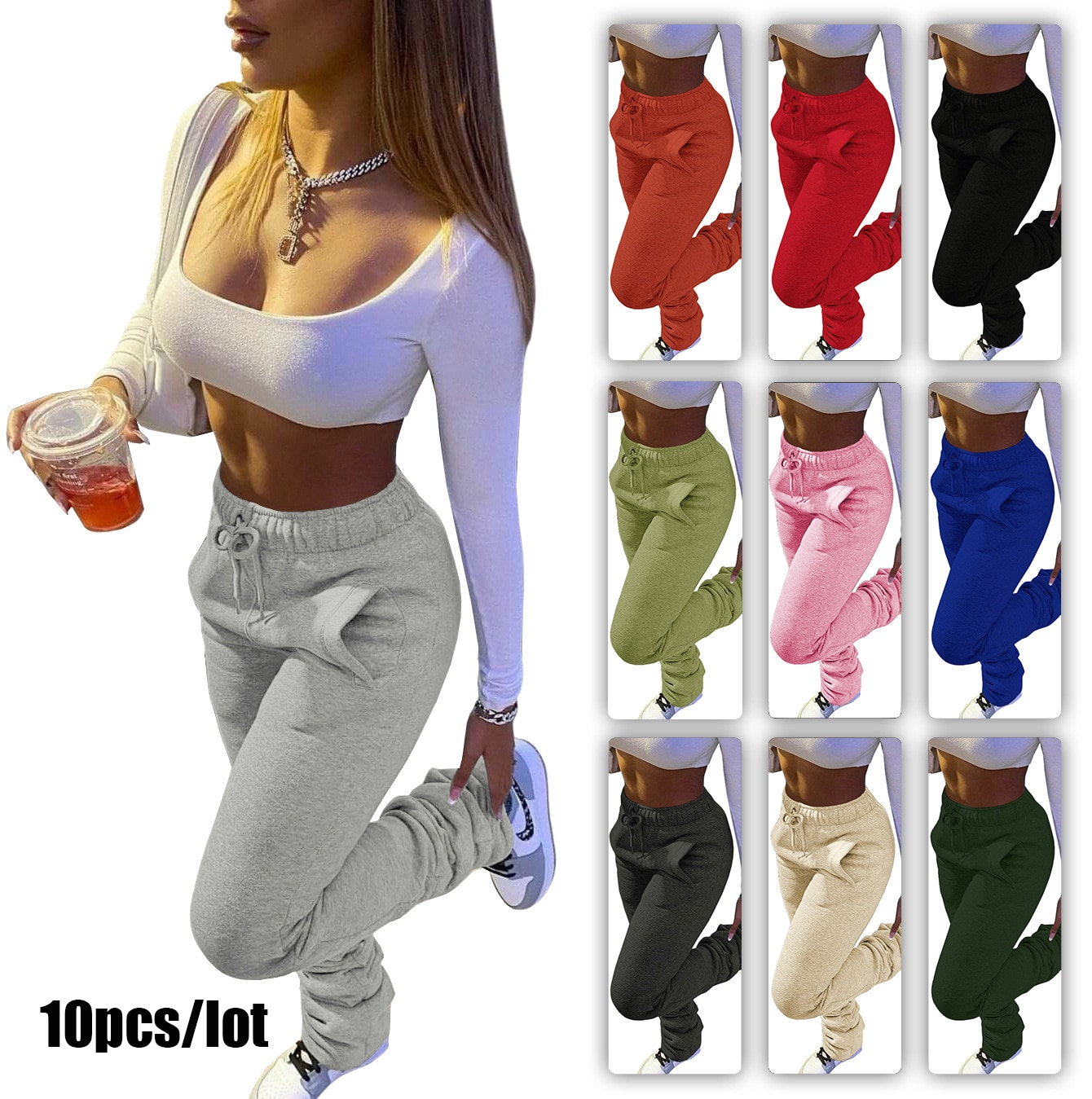 10pcs/lot Stacked Sweatpants Women Wear Thickened Clothing Sports Jogger Draw Rope Pile Pants Female Bulk Item In Wholesale Lots