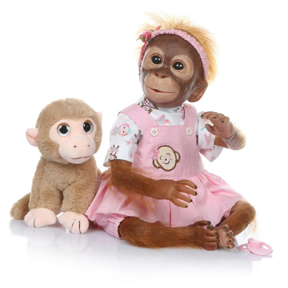 Kuulee 52CM Handmade Detailed Paint Reborn Baby Monkey Newborn Baby Collectible Art