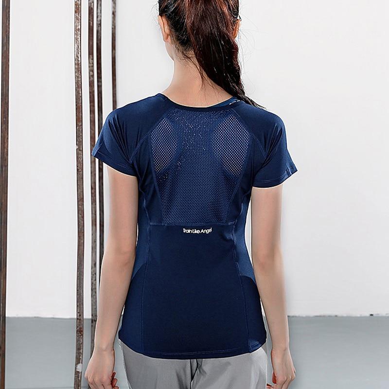 Camisetas de verano para mujer, camisetas deportivas ajustadas de manga corta para Yoga, camiseta de malla para Yoga, ropa deportiva para gimnasio