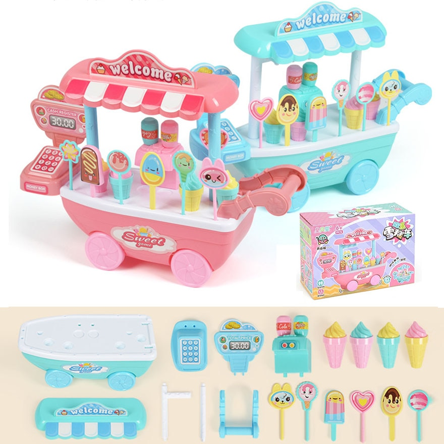 20 33 38cm simulation mini trolley girl candy car ice cream shop supermarket children play toy ice cream cart Children Mini Trolley DIY Toy Ice Cream and Candy Cart Pretend Play Food Cash Register Kids Role Play Shop Toys Chrismas Gifts