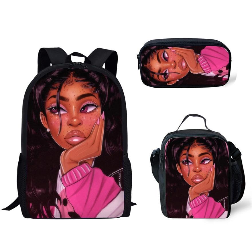 School Backpack for Kids Black Art African Girl Printing 3pcs/set School Bags Children Primary School Book Bag 2019