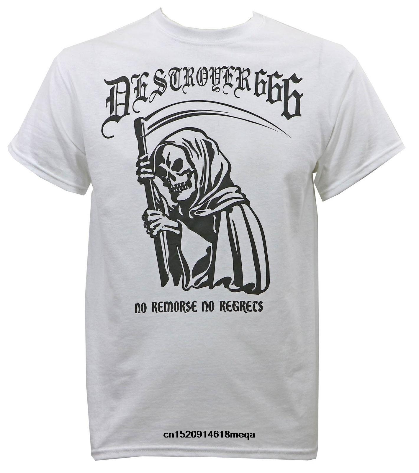 Camisetas divertidas destructor 666 Band No regreds camiseta blanca S-3XL