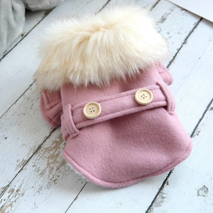 Grande coleira de pele roupas para cães inverno quente pet cachorro casaco casaco cachorro rosa café pequeno animal neve gato para baixo roupa transporte da gota
