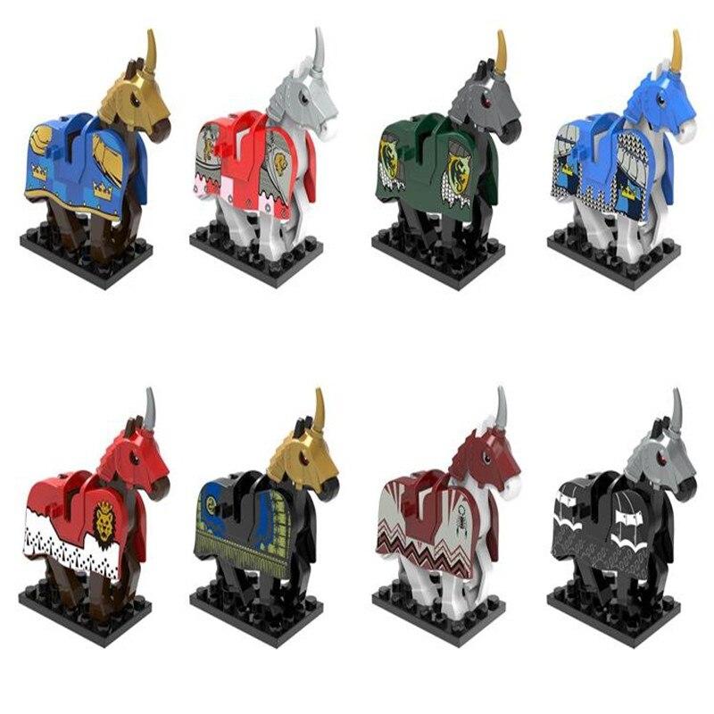 8 pcs set cavalo cavaleiro medieval roma rei warhorse modelo blocos de construcao