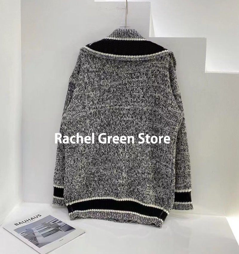 Luxury Designer fall 2021 sweater for women clothing branded Letter Lapel Long Sleeve Knitted Cardigan Sweater coats cardigans enlarge