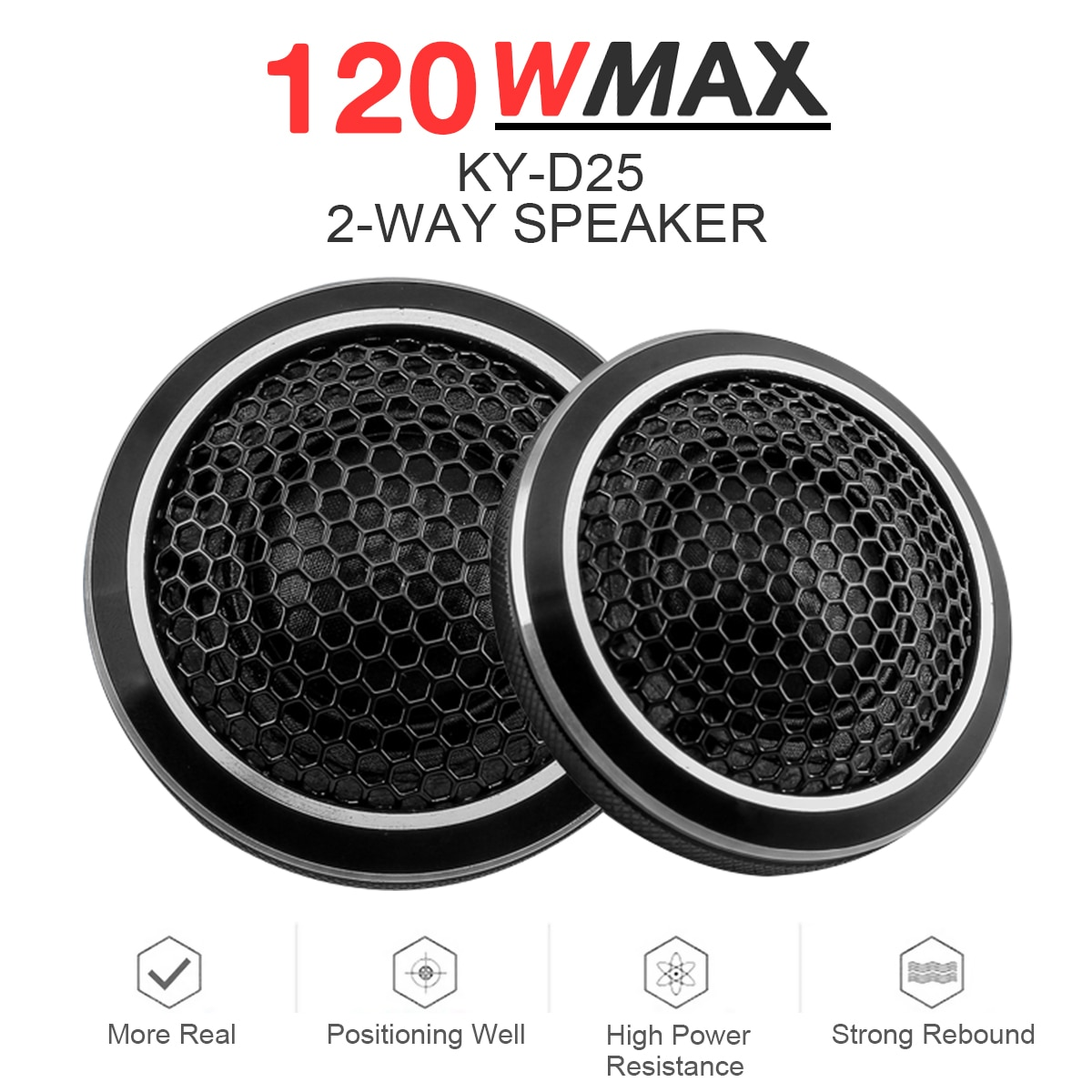 2 stücke 120W Auto Lautsprecher Schwarz Mini Universal Hohe Effizienz Dome Auto Hochtöner Stereo Lautsprecher Lautsprecher für Auto Audio system