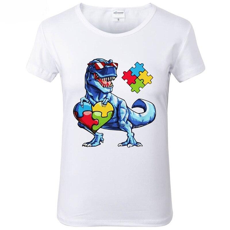 Autismo concientización dinosaurio puzle Piece T Shirt mujeres divertidas impresas Camisetas cuello redondo suave manga corta Camiseta para niñas