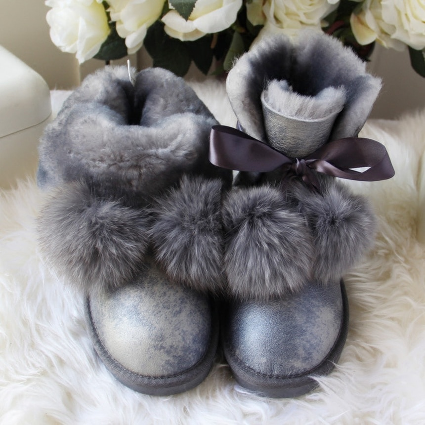 G&ZaCo Luxury Genuine Sheepskin Boots Women Winter Fox Ball Wool Snow Boots Waterproof Sheep Flat Short Boots Women's G Boot