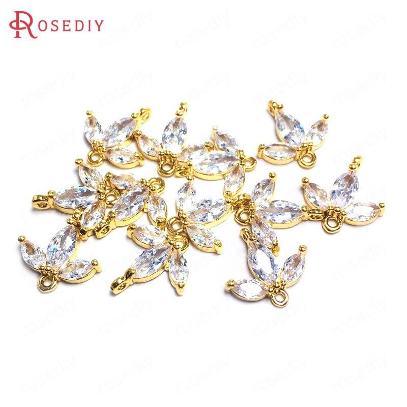 (38118)10 pçs 13mm 24k champanhe cor do ouro bronze zircão 2 furos folhas de árvore conectar encantos pingentes jóias que fazem suprimentos