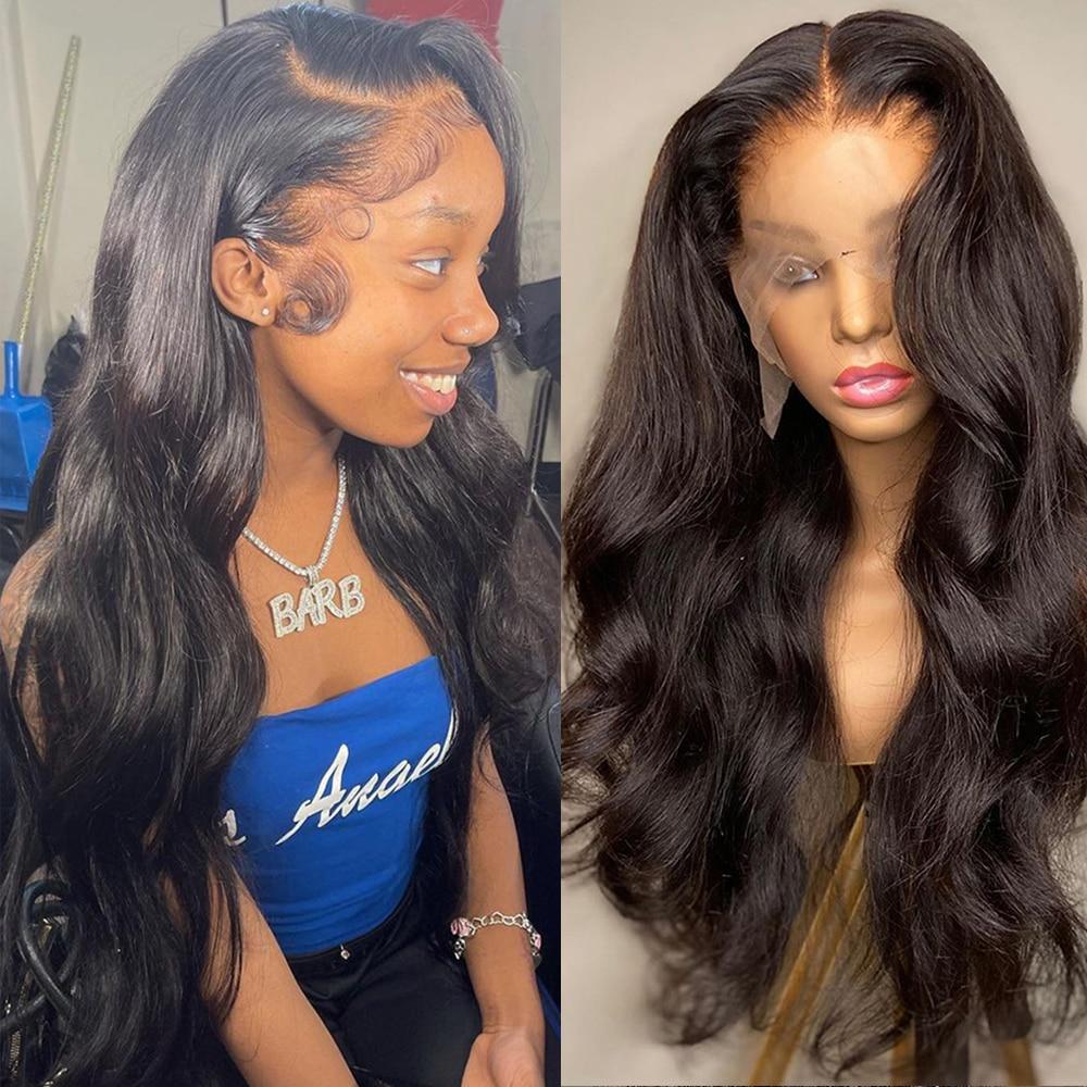 الجسم موجة الدانتيل الجبهة خصلات الشعر المستعار الإنسان للنساء البرازيلي شعر طبيعي 30 32 بوصة 13x4 Hd شفافة الدانتيل الباروكة أمامي