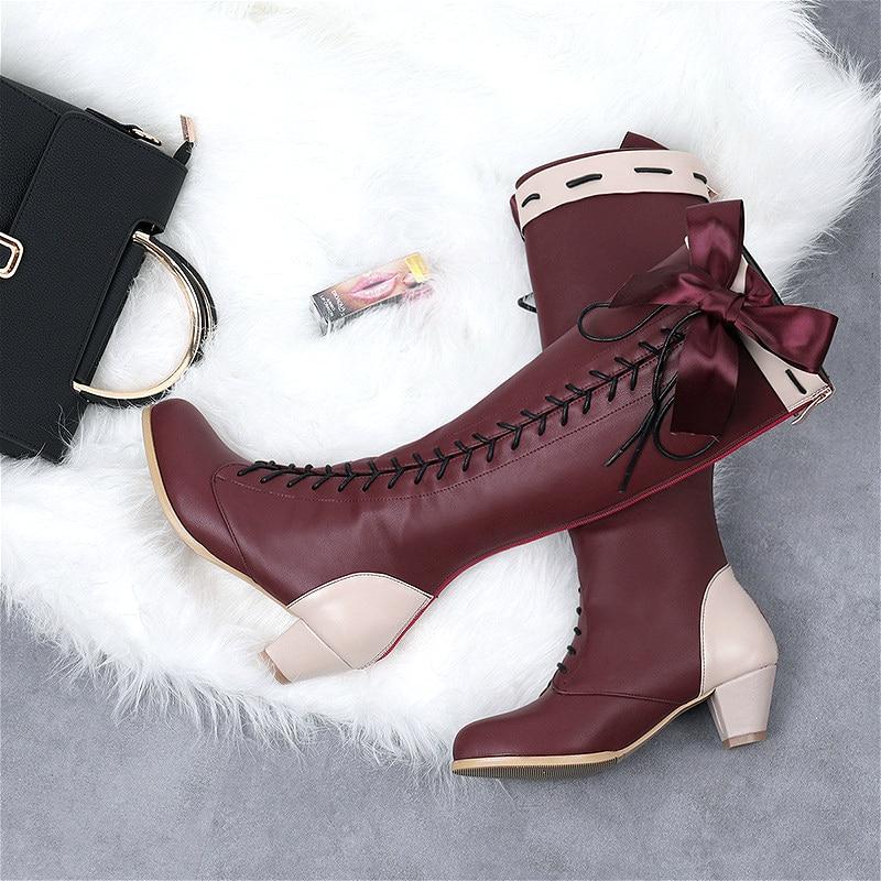أحذية تنكرية من جلد البولي يوريثان ، مصنوعة حسب الطلب ، مع فيونكة كرتونية Evergarden ، للنساء