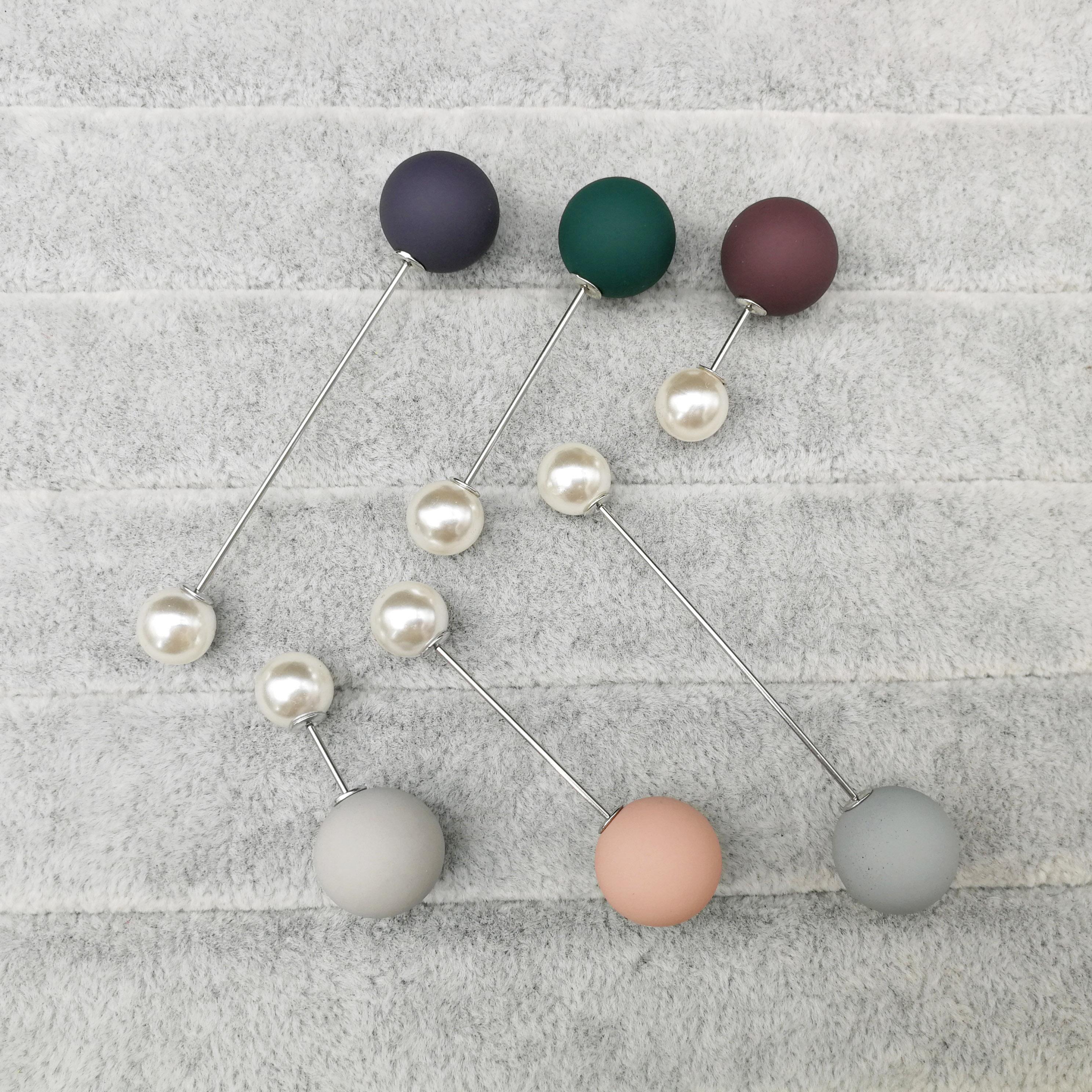 Broche perla simulada doble blanco negro para palillo de mujer bufanda solapa Pin suéter joyería accesorios de moda ropa
