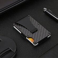 Men Slim Real Carbon Fiber Credit Card Holder No RFID Wallet Money Clip 2020 New Minimalist Design Wallet Lock Mens Carbon