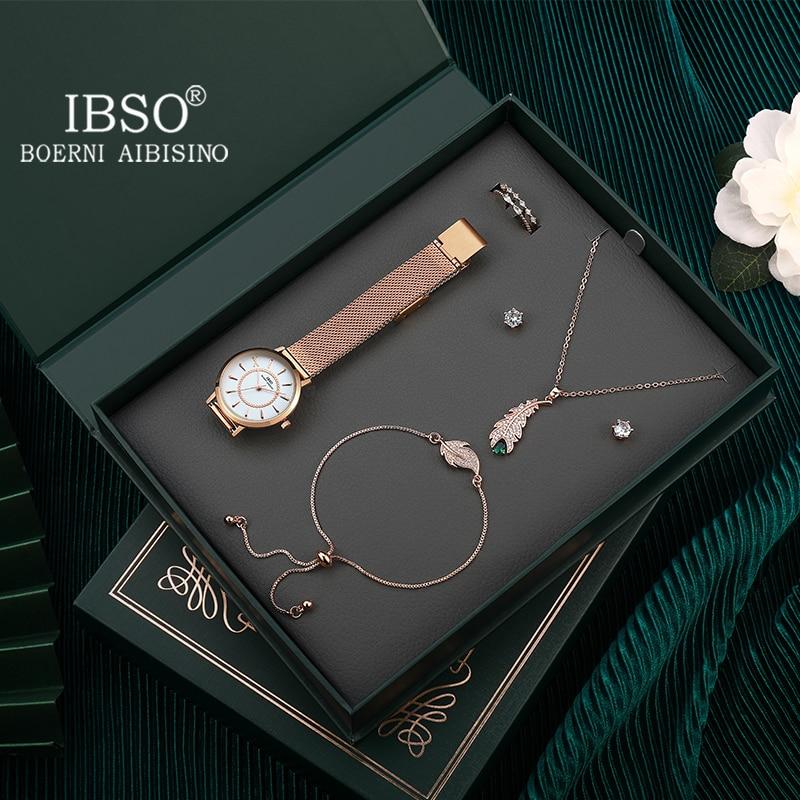 IBSO ساعة نسائية مجموعة صندوق هدية الأخضر كتاب رغبات جديد فاخر الكوارتز السيدات تخصيص ريترو تصميم الجمال المتحدة مجوهرات