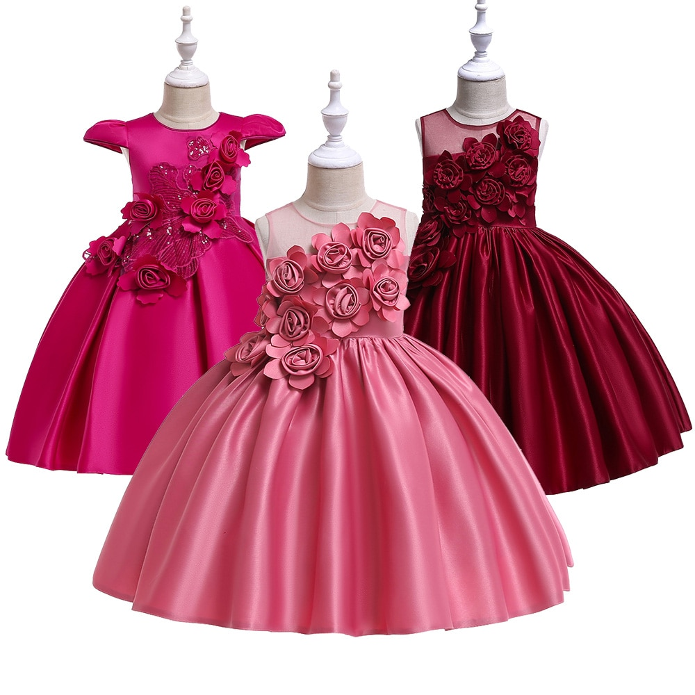 Vestido de satén brillante para niñas, vestido para niños, cumpleaños, boda, Princesa, fiesta Formal, vestidos de baile para 6 8 10 12 años