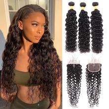 Water Wave Bundles With Closure 3/4 Bundles Human Hair With Closure HD Lace Closure With Bundles Remy Add $10 Make Into Wig