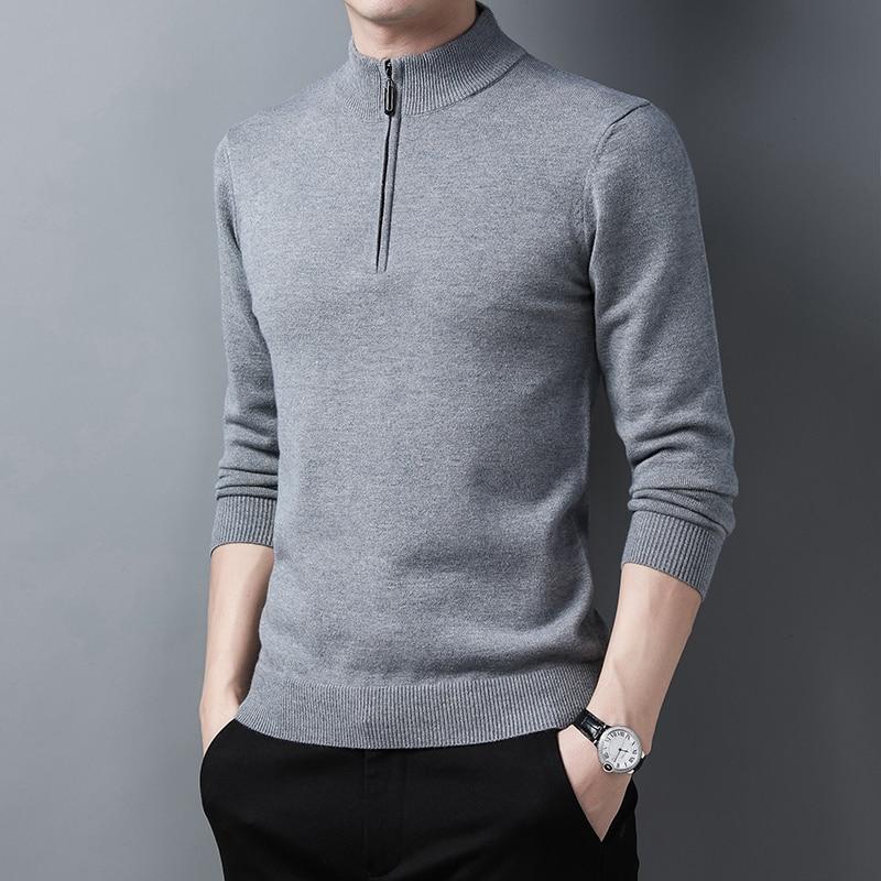 Мужской шерстяной свитер на молнии, джемпер с коротким воротником и длинным рукавом, однотонная трикотажная одежда на молнии, Повседневный ...