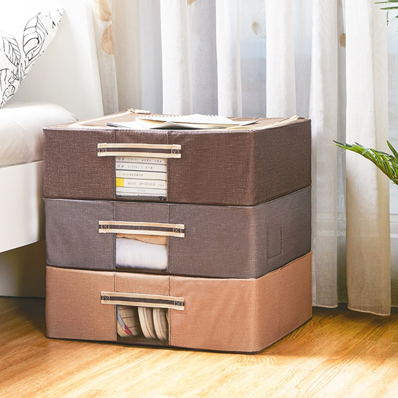 Oxford Cloth Storage Bin Under The Bed Shoes Toys Clothes Book Storage Box Folding Wardrobe Lid Organizer Socks Bra Storage Box