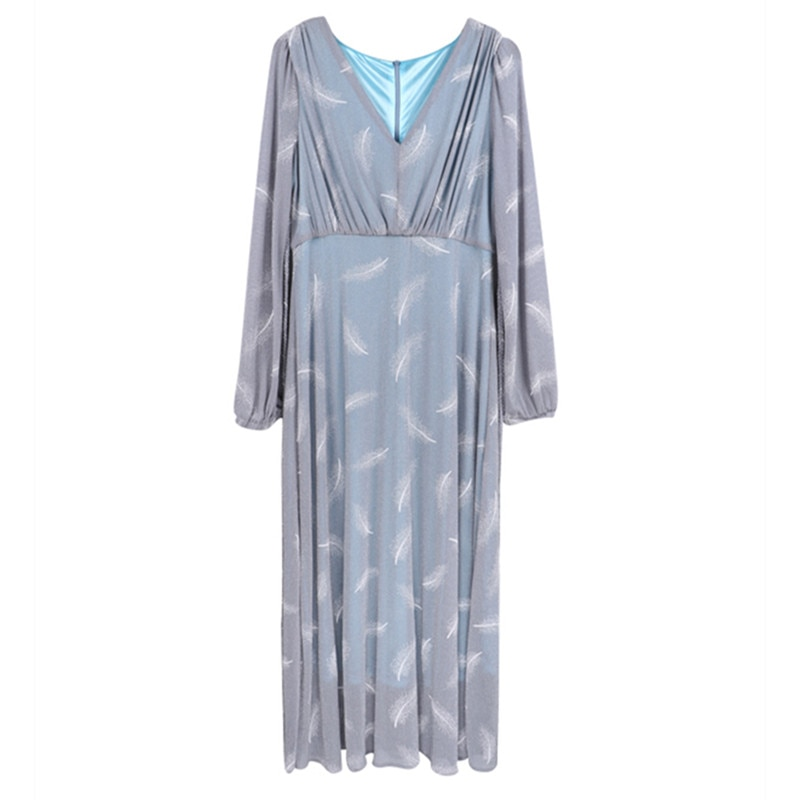 Nursing Dresses Breastfeeding Pregnancy Clothes Holiday High Waist Long Sleeve Maternity Gown Feather Outwear Plus Size Dress enlarge