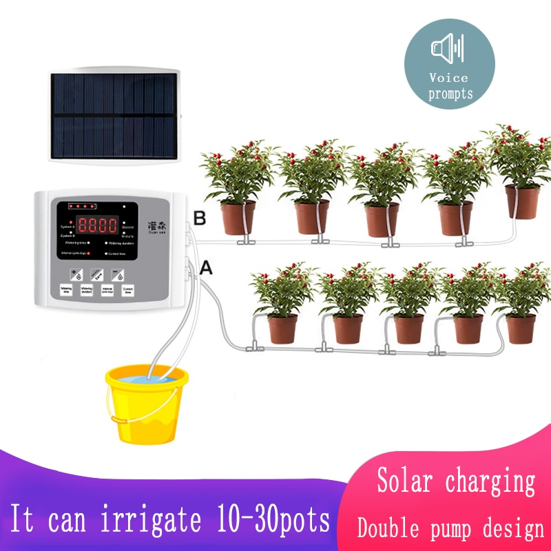 Garden Drip Irrigation Device Double Pump Controller Timer System Solar Energy Intelligent Automatic Watering Device for Plants