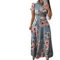 2021 summer ladies elegant robe banquet dress large size floral print casual slim belt dresses