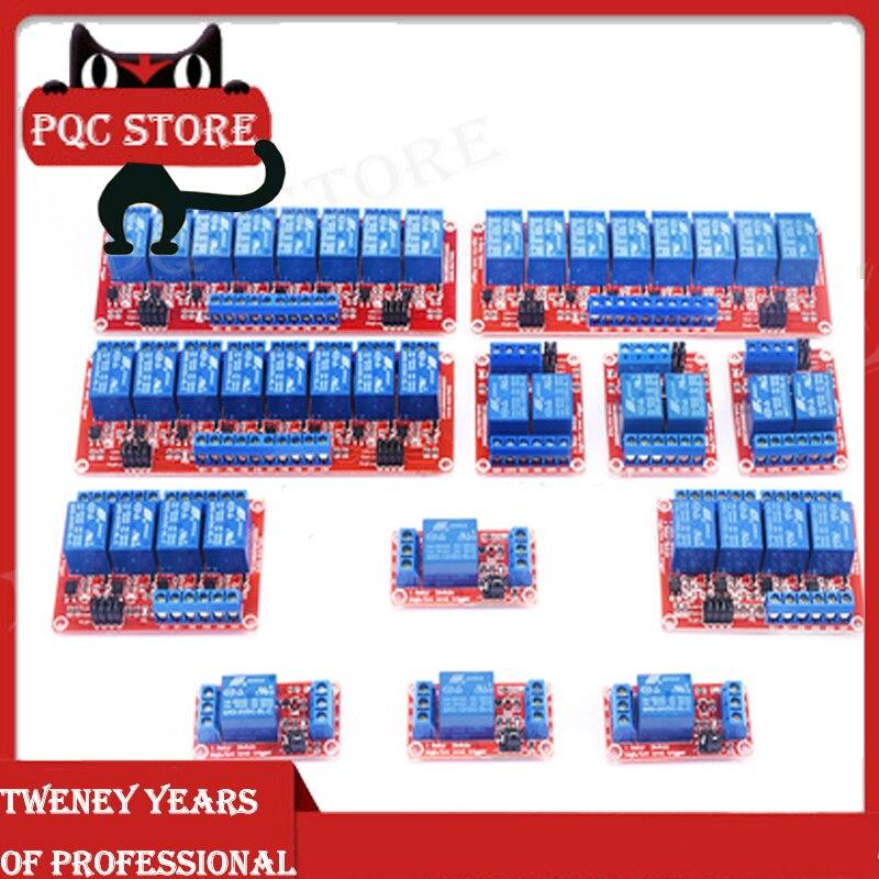 Módulo de relé de 1/2/4/8 canales 5V/12V/24V, tablero de disparo Alto y Bajo aislado, microcontrolador rojo