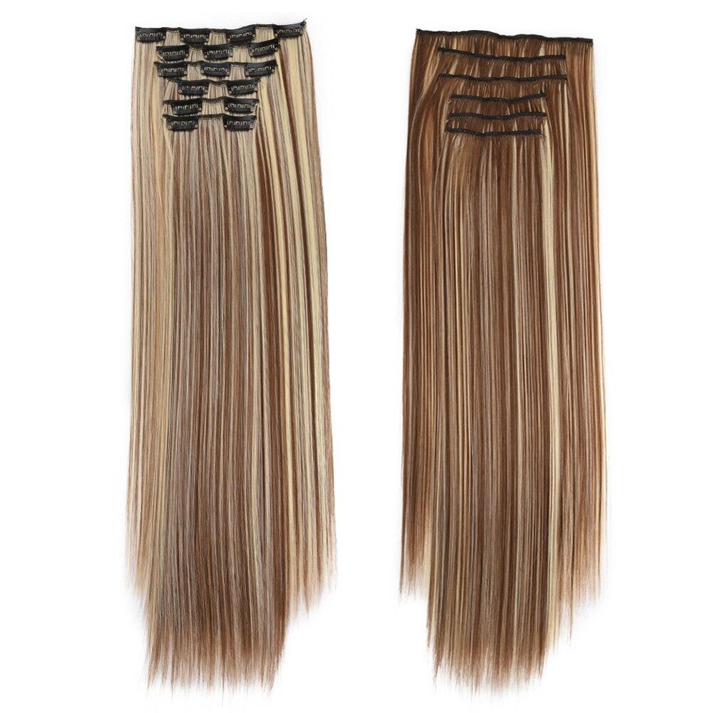 grampo em extensoes do cabelo 6 pcs set 24 peruca 140g 16 clipes em falsos styling