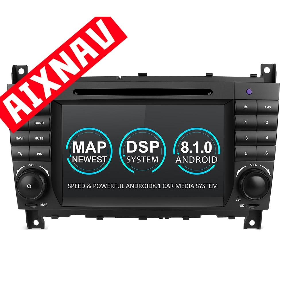 Android 8,1 4 Core DSP Radio de coche 2 Din Central Multimidia reproductor de DVD de coche navegador GPS automóvil para Mercedes Benz C200 Kompressor