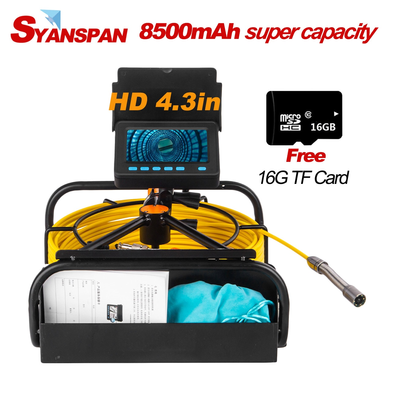 Promo Portable 8500mAh Capacity Standable 16GB TF Card DVR IP68 SYANSPAN Industrial Drain Sewer Pipe Inspection Video Camera Endoscope