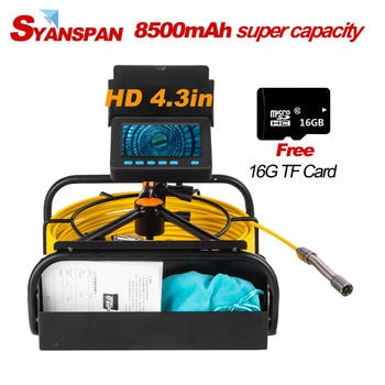 Portable 8500mAh Capacity Standable 16GB TF Card DVR IP68 SYANSPAN Industrial Drain Sewer Pipe Inspection Video Camera Endoscope