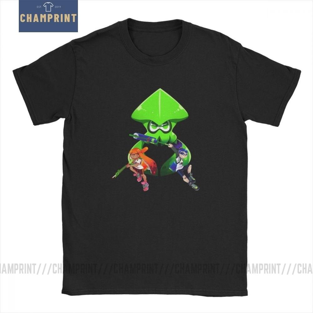 Splatoon Trio camiseta para hombre, Camiseta de cuello redondo de algodón de novedad de juego de chico de tinta para hombre, camiseta de manga corta, ropa 4XL 5XL 6XL