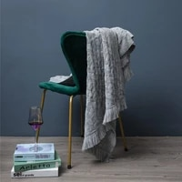 new nordic retro rhombus wool knitted pure color blanket bed end towel with sofa blanket and blanket
