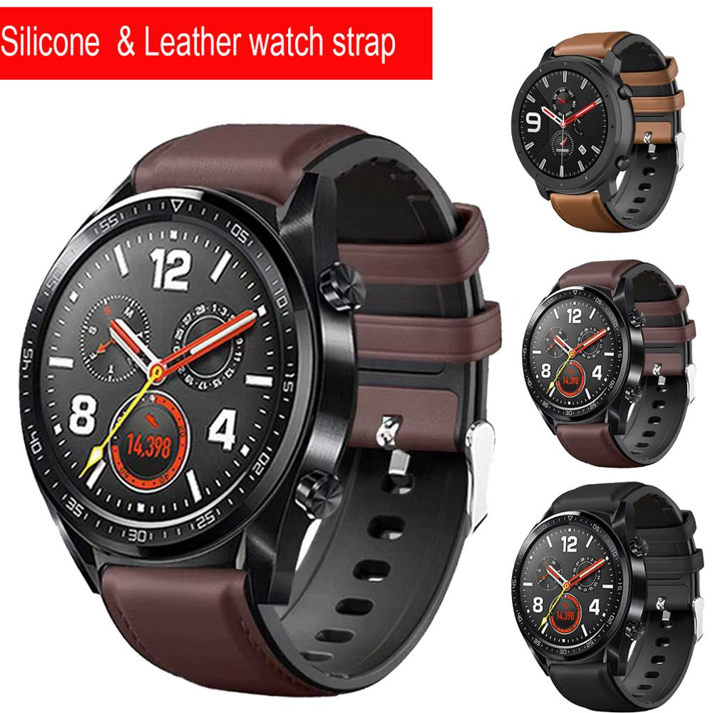 22mm Leather silicone watch strap for Huawei Watch GT GT2 46 Smart watch Accessories bracelet for Honor Watch Magic 2 46mm band silicone leather watchband for huawei watch gt gt2 46 honor magic 2 46mm watch band wrist strap bracelet belt for ticwatch pro