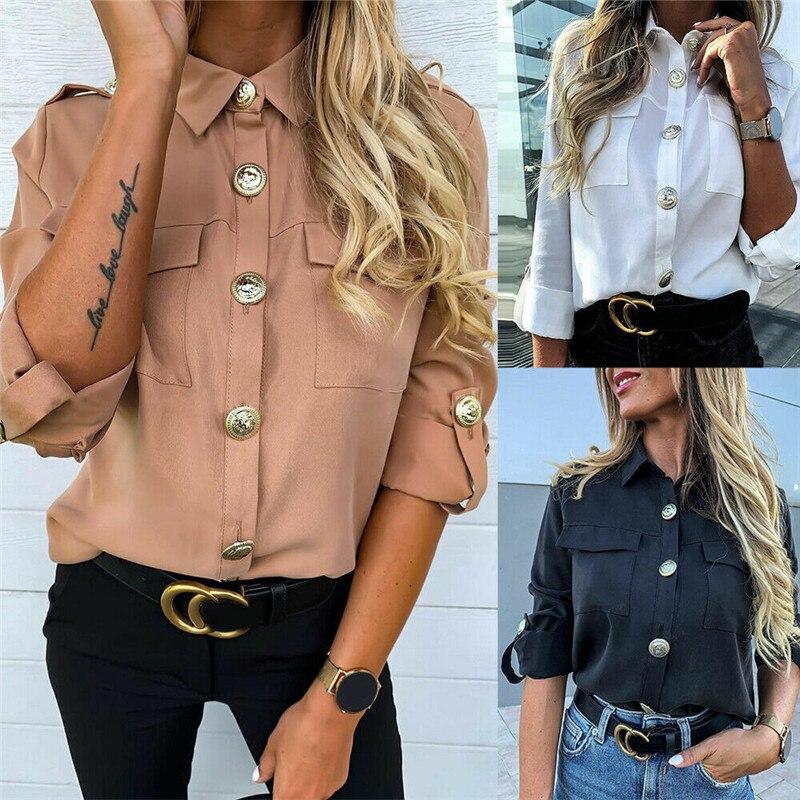 Zapalisa Solid Color Adjustable Sleeve Design Women Tops Fashion Slim Pocket Decor Elegant Office Lady Streetwear Shirt