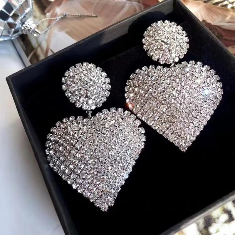 MWsonya New Korean Luxury High-end Rhinestone Love Heart Pendant Earrings Elegant for Women Fashion Earrings Jewelry Gifts