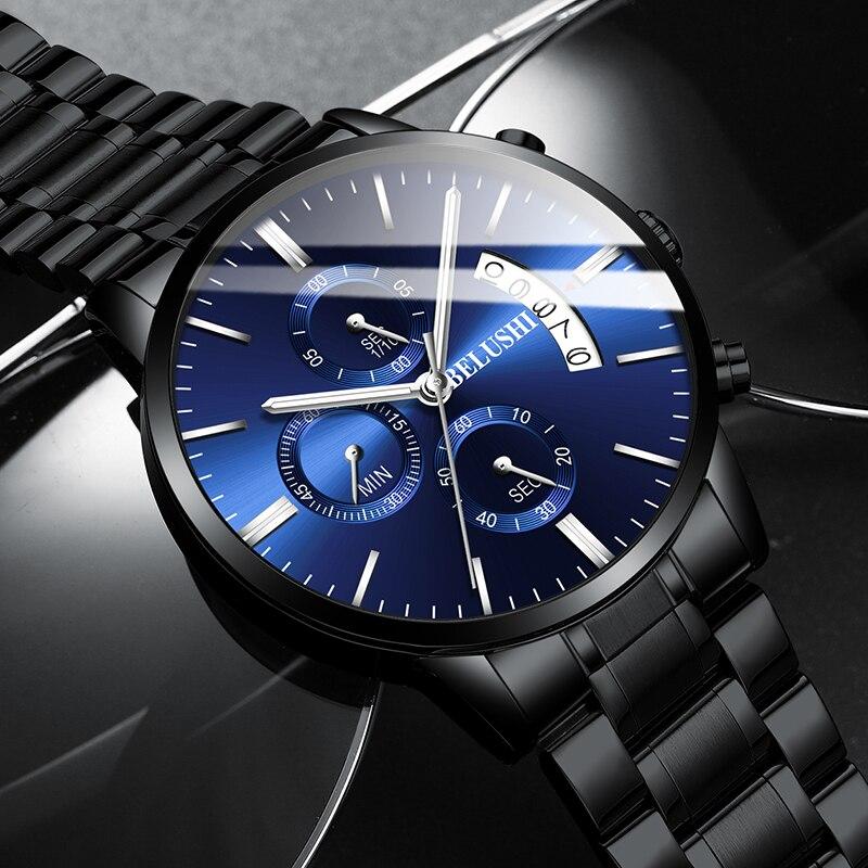 ساعة يد رجالية من BELUSHI, كوارتز، كرونوغراف، رياضية، ساعات رجالية، ماركة فاخرة، فولاذ كامل، ساعة مقاومة للماء