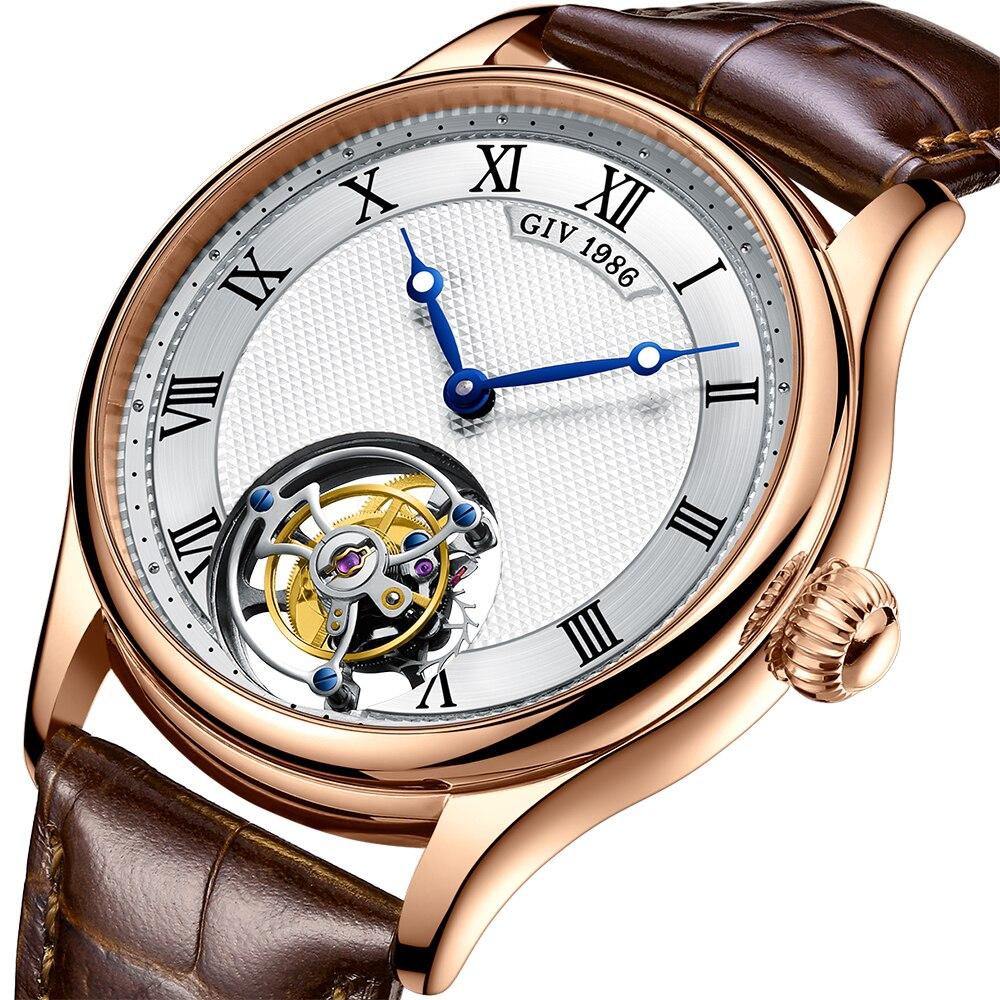 GIV Classic Tourbillon Men Mechanical Wristwatches Watch for Men Skeleton Sapphire 2021 Brand Luxury