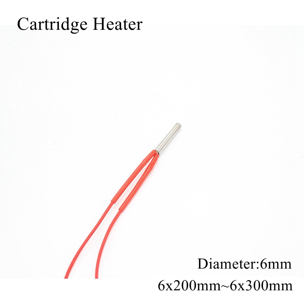 6x200mm 6x250mm 6x300mm 12V 24V 110V 220V 6mm Ceramic Cartridge Heater Tube Pipe Heating Element 3D Printer 50W 100W 150W 200W