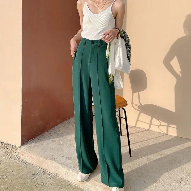 Зеленые брюки с широкими штанинами, женские свободные прямые брюки с высокой талией на ощупь, новинка 2021, летние прямые Костюмные брюки в ст...
