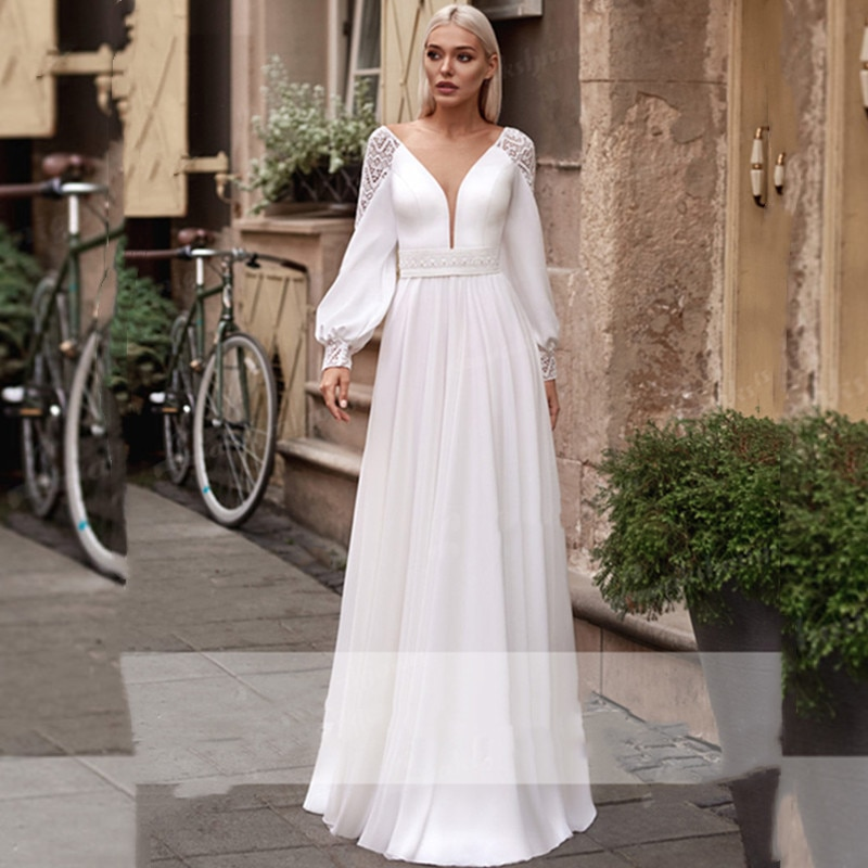 Review Bohemia Wedding Dress 2021 Full Sleeves V-Neck Chiffon Pearls Lace Appliques Sweep Train For Elegant Women New Arrive A-Line