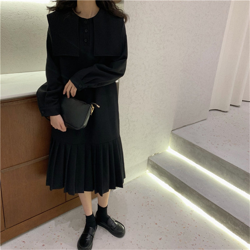 HziriP Black Female Sailor-Collar Loose 2020 Solid Full-Sleeved Office Lady Elegant Women All Match High Quality Long Dresses