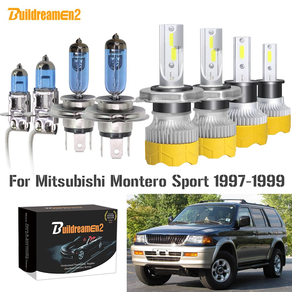 Faro delantero para coche 4 X buildreomen2, luz antiniebla de haz Hi/Lo, bombilla LED halógena, Faro de 12V para Mitsubishi Montero Sport 1997 1998 1999