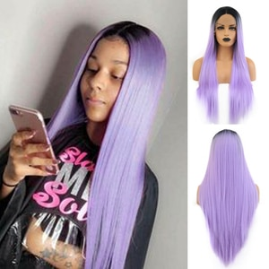 RONGDUOYI Ombre Purple Wigs Synthetic Lace Front WIg for Women Long Silky Straight Hair Cosplay Wig Heat Resistant Hair