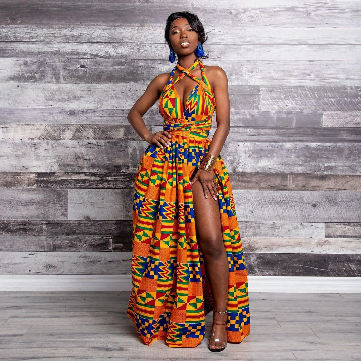 2020 vestidos africanos para mujeres Dashiki algodón cera estampado Batik Sexy largo vestido para mujer tradicional ropa vestidos Ankara