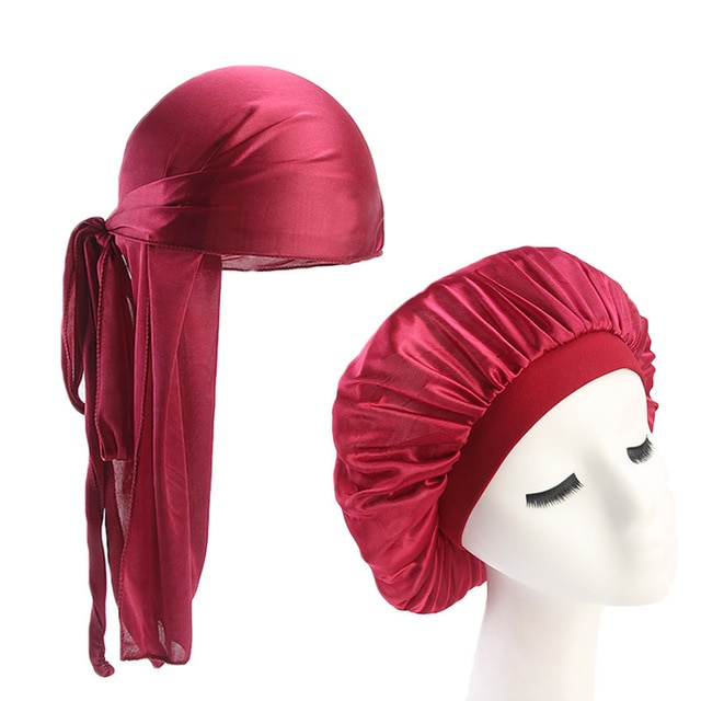 NEW Uni Silky Durag Long Tail And Wide Straps Waves For men Solid Wide Doo Rag Bonnet Cap Comfortable Sleeping Hat