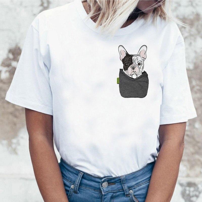 Camiseta divertida para mujer, Harajuku bonito dibujo de Bulldog Francés, camiseta femenina informal de cuello redondo, camiseta para mujer