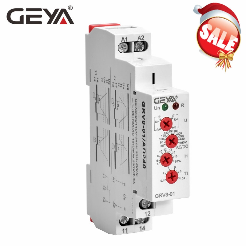 GEYA GRV8-01 gerilim rölesi üzerinde ayarlanabilir voltaj veya düşük gerilim koruma monitör röle AC 110V 240V DC12V röle