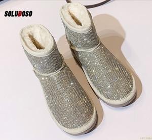 Hot Sale Women shoes, snowy boots, women's Short boots, diamond shiny sequins, thick wool warm cotton boots