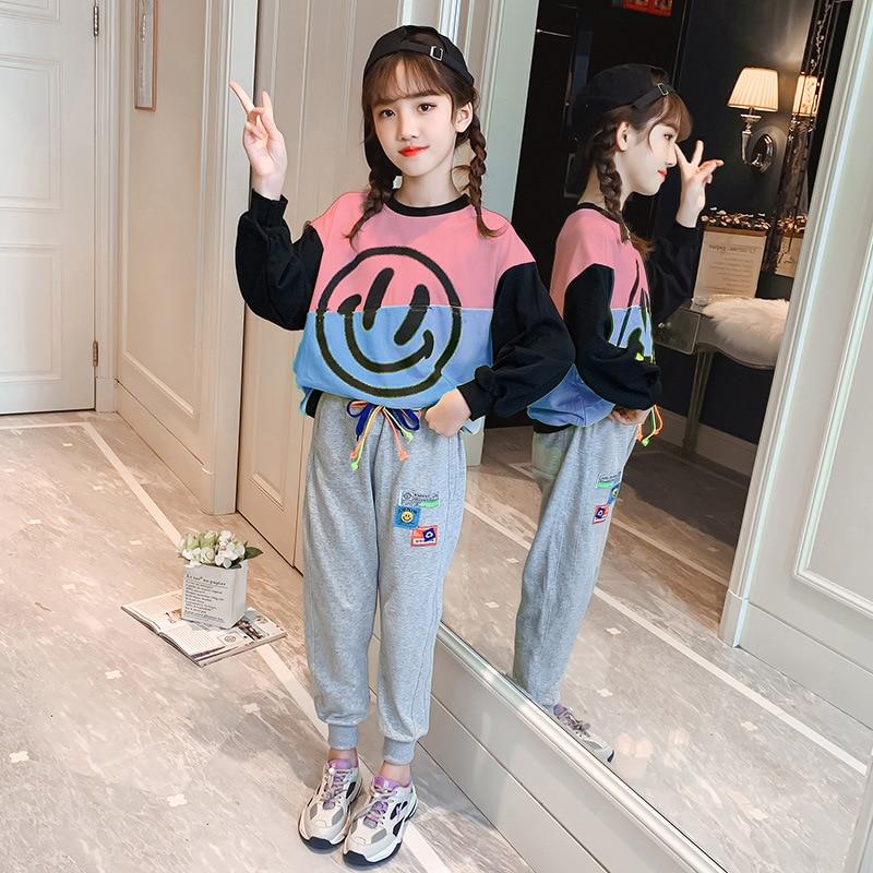 Girls Autumn Suit Children's Sweatshirt and Pants Fashion Big Girl Wear Girls Sports Set Trend Smile Face Clothes Set